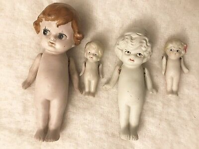 Lot of 4 Antique Bisque Kewpie Dolls, 665 Germany and Japan