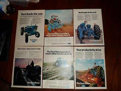 6x Ford Force Tractor Adverts 1969-71 5000/4000/3000/2000  Free UK Post