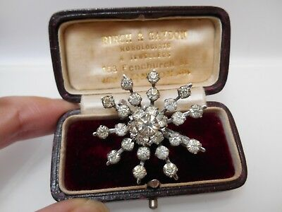 Antique Vintage Paste Glass Clear Rhinestone Snowflake Christmas Old Brooch