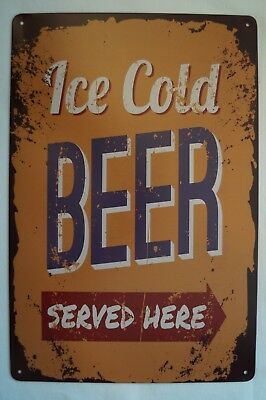 RETRO STYLE TIN SIGN - Ice Cold Beer - Served Here