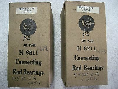 12 pairs H6211 .002 Over Size Rod Bearings 1936-1941 Lincoln Zephyr V12 267 292