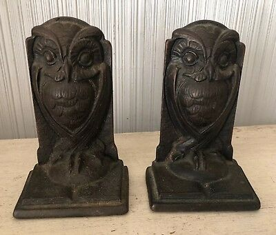Antique Cast Bronze Owl Art Deco Pair Of Bookends Vintage Metal Signed 5.25""