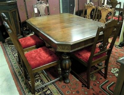 Antique Basset  Dining Room  Set Table Chairs Sideboard Antique