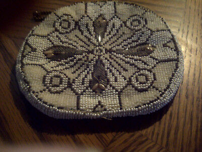 Antique Vintage White Beaded~Arrow Pattern Small Zipper Hand/Belt Purse~CZECH
