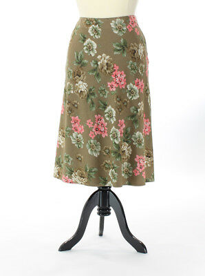 Skirts Clothing, Shoes & Accessories Jm Collection Misses 16 Brown Pink Green Floral Print A-line Long Skirt Low Price