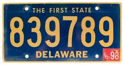"""Delaware 1998 """"The First State"""" License Plate, 839789"""