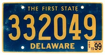 """Delaware 1999 """"The First State"""" License Plate, 332049"""