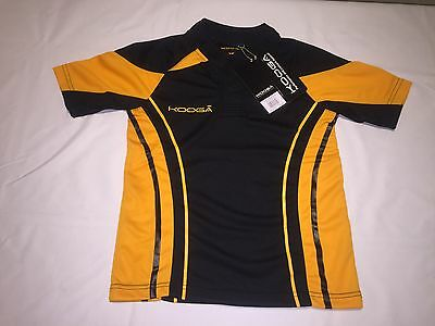 CLEARANCE NEW KIDS KOOGA STADIUM MATCH SHIRT. BLACK/GOLD x 30. AK1.