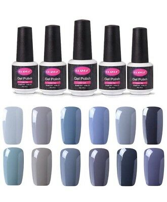 CLAVUZ Gel Nail Polish 12pcs Gray Soak-Off UV Light Nail Polish Starter Gift Set