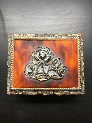 Vintage Sankyo Metal Jewelry Music Box Faux Agate Top with Flower Plays MY WAY