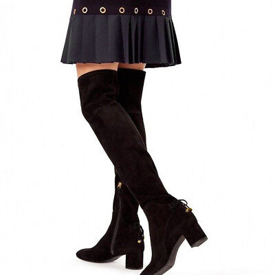 Tory Burch Laila Over the Knee Boot Stretch Suede Black Size 5 $598