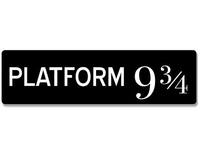 3x9 inch Black & White PLATFORM 9 3/4 Bumper Sticker -hogwarts sign harry potter