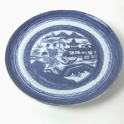 Antique 19th C Chinese Underglaze Blue and White Canton Export Porcelain #124