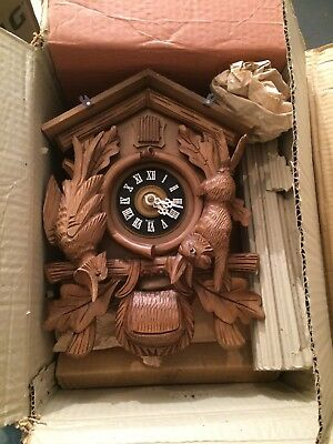 New In The Box Dated 1964 Vintage German Forest Cuckoo Clock  With Animals