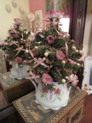 Small Decorated Christmas Tree Silk White Pink Roses R & S Prussia Victorian