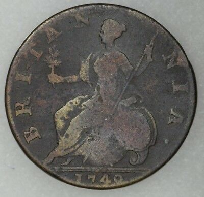 1749 Great Britain Half Penny King George II Readable Date Decent Details