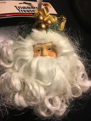 Porcelain Santa Head Christmas Ornament Gold Fur Trimmed Hat Curly Beard Nwt