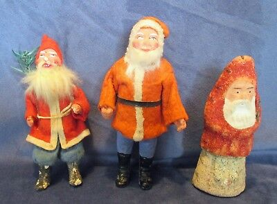 Nice Lot of Three Antique Paper Mache Santa Candy Containers NR.