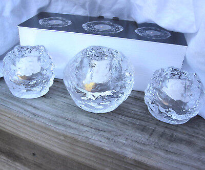 NEW Kosta Boda 3 Snowball Clear Lead Crystal Votive Candle Holders SWEDEN