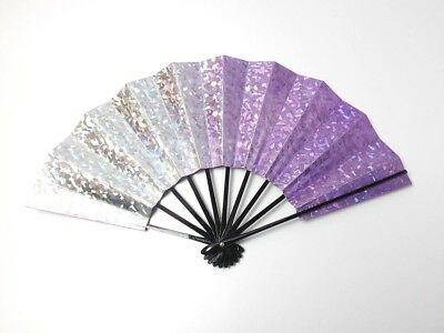 Japanese antique vintage purple silver Maisen Ougi Sensu folding fan chacha