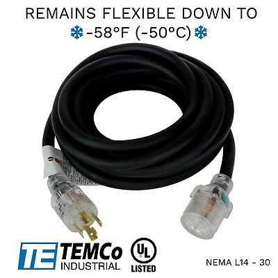 TEMCo 20ft Extreme Weather Generator Cord Black NEMA L14-30 125/250V 30A UL