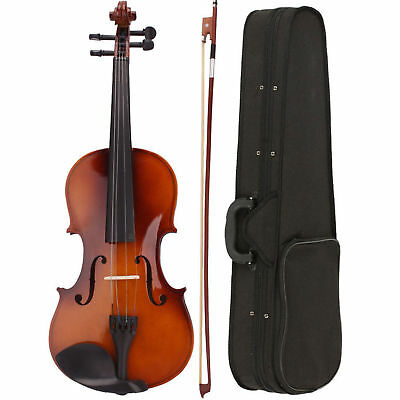 Hot Student Acoustic Violin 4/4 Full Size with Case and Bow Rosin Wood Natural