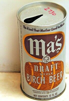 Ma's Birch Beer; Ma's Old Fashion Bottling; Wilkes-Barre, PA; Steel Soda Pop Can