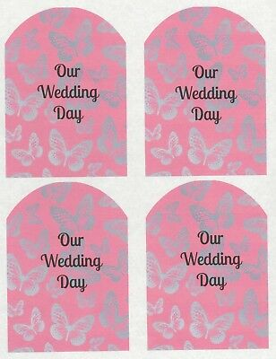 SET OF 6 X PERSONALISED 89 x120.7MM PINK AND SILVER BUTTERFLY WINE BOTTLE LABEL