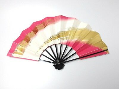Japanese antique vintage pink gold Maisen Ougi Sensu folding fan chacha