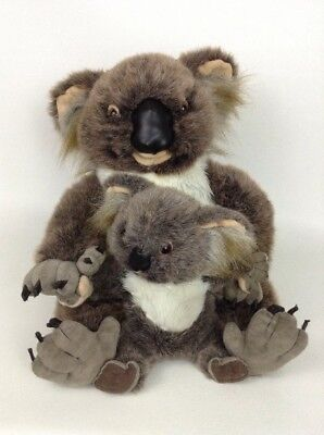 "Discovery Channel Realistic Large 13"" Koala Mom & Baby Plush Stuffed Toy 1999"