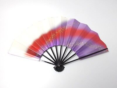 Japanese antique vintage purple white Maisen Ougi Sensu folding fan chacha