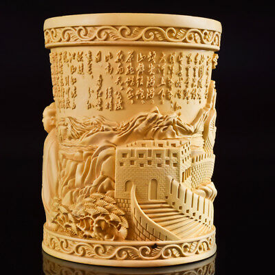 Chinese Boxwood Hand Carved The Great Wall Exquisite Brush Pot a3006