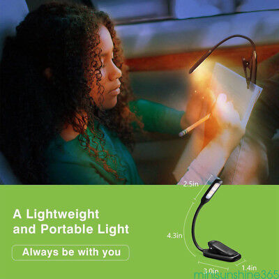 Portable Flexible LED Clip On Reading Book Light Lamp Reader Kindle Rechargeable