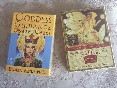 Lot 2 Goddess Guidance & Fairie Oracle Cards by Doreen Virtue 44 cards w/booklet