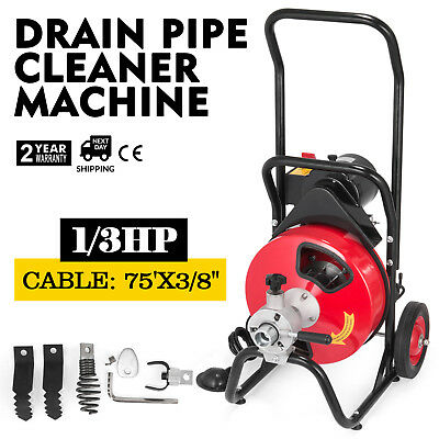 """Commercial Drain Cleaner 75'x 3/8"""" Drain Cleaning Machine Snake Sewer 5 Cutters"""