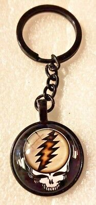 Grateful Dead Steal Your Face Black Alloy Keychain Key Ring Jewelry