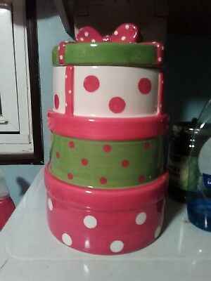 Stacked Colorful Christmas Presents Goodie / Cookie Jar Canister 10 1/2 ""