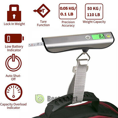 Portable Balance LCD Electronic Digital Hook Hanging Luggage Scale Weight 110lb