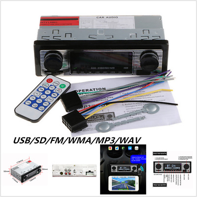 Vintage Car Radio Modern Bluetooth MP3 Player AUX Classic Cars Stereo + Remote