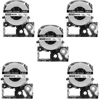 5PK Compatible for Epson LC-4WBN9 Label Tape AS12KW 12mm 1/2'' 26' LW300