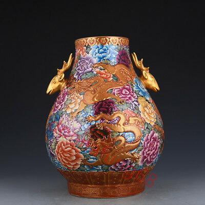 Chinese Exquisite Handmade Dragon flowers pattern deer Enamel porcelain vase