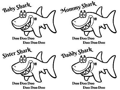 Choice-Baby Shark Iron On Transfer For T-Shirt & Other Light Color Fabics #1-12