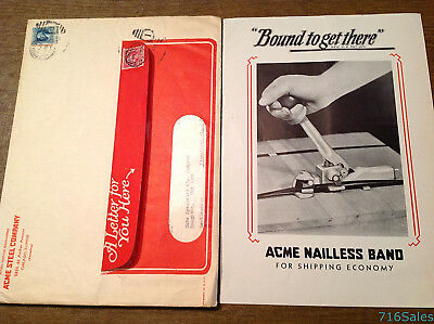 c1932 Acme Steel Co. Nailless Band Shipping Catalog w/ Envelope & Company Letter