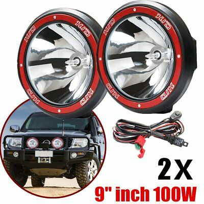 "2x 9"" inch 100W HID Xenon Driving Lights Spotlight Offroad Work Lamp 4X4 SUV O5"