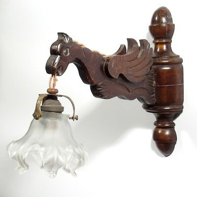 Vintage French Wooden Sconce, Gargoyle, Frosted Glass Shade