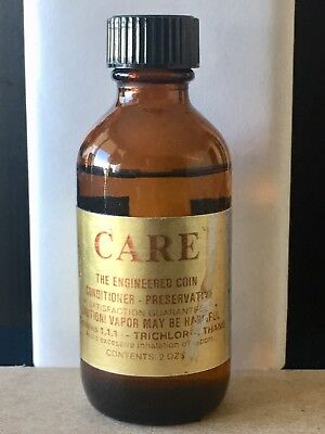 CARE Coin Conditioner- Preservative  Used Brown Bottle Gold Label  ~ RARE