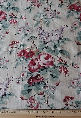 "Antique c1850-60 Roses & Lilacs French Or English Chintz Fabric~L-25"" X W-33"""