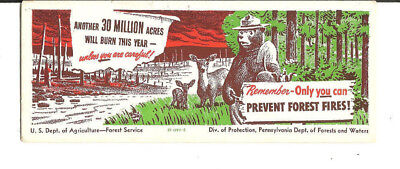 1950s 1960s SMOKEY THE BEAR INK BLOTTER  PENNSYLVANIA DEPT OF FORESTS & WATER