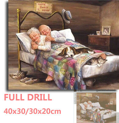 UK Full Drill Old Couple Warm Family 5D Diamond Painting Cross Stitch DIY Kit