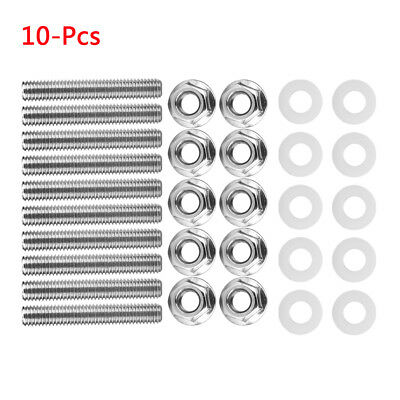 10Pcs Stainless Steel Exhaust Manifold Head Stud Bolt Kit For Honda Civic Acura